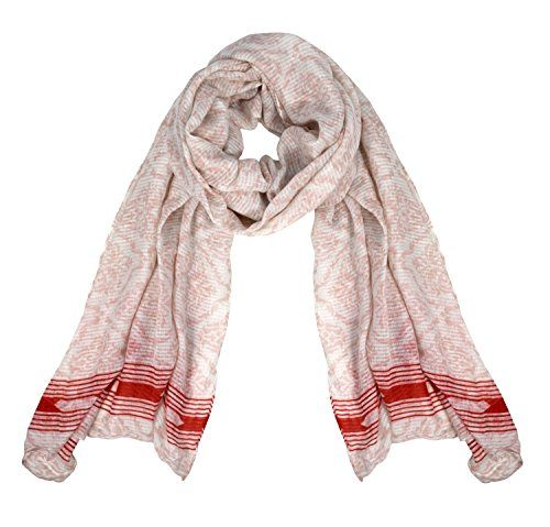 White Red Womens Summer Light Weight Damask Print Long Scarf