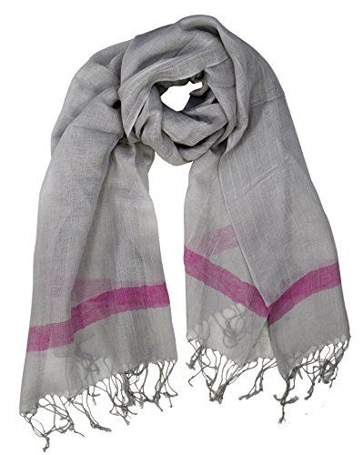 Grey Pink Womens Summer Fashion Light Weight Fun Pattern Long Scarves