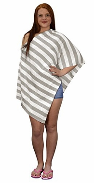 Peach Couture Womens Summer Fashion Light Weight Striped Poncho Shrug Cover Up