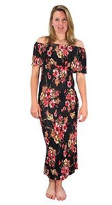 Black Womens Summer Gypsy Bohemian Vintage Floral Long Maxi Dress
