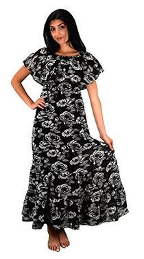 Black White Summer Gypsy Bohemian Vintage Floral Long Maxi Dress