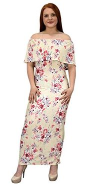 Champagne Womens Summer Gypsy Bohemian Vintage Floral Long Maxi Dress