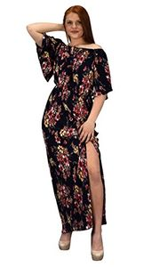 Navy Womens Summer Gypsy Bohemian Vintage Floral Long Maxi Dress