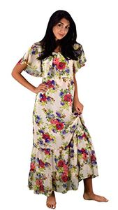 White Summer Gypsy Bohemian Vintage Floral Long Maxi Dress Small