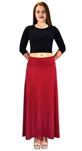 Women's Summer Printed Variety Fold Over Long Jersey Maxi Skirt Large