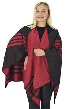Womens Thick Warm Geometric Striped Poncho Blanket Wrap Shawl