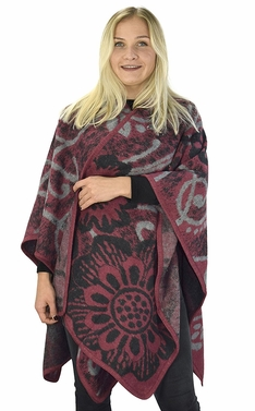 Peach Couture Womens Thick Warm Geometric Striped Poncho Blanket Wrap Shawl (Abstract Maroon)