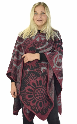 Abstract Maroon Womens Thick Warm Geometric Striped Poncho Blanket Wrap Shawl