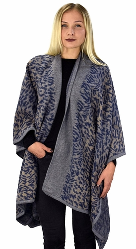 Abstract Navy Womens Thick Warm Geometric Striped Poncho Blanket Wrap Shawl