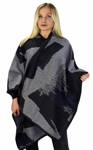 Black Grey Womens Thick Warm Geometric Striped Poncho Blanket Wrap Shawl