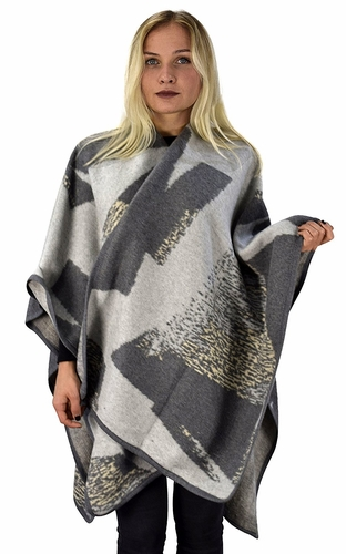 Grey Womens Thick Warm Geometric Striped Poncho Blanket Wrap Shawl