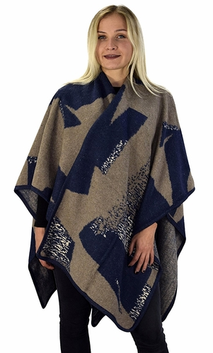 Navy Taupe Womens Thick Warm Geometric Striped Poncho Blanket Wrap Shawl