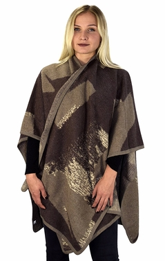 Peach Couture Womens Thick Warm Geometric Striped Poncho Blanket Wrap Shawl (Colorblock Tan/Taupe)