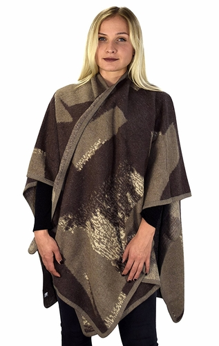 Tan Taupe Womens Thick Warm Geometric Striped Poncho Blanket Wrap Shawl