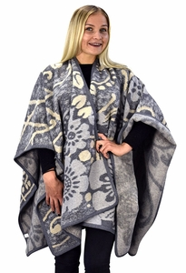 Peach Couture Womens Thick Warm Geometric Striped Poncho Blanket Wrap Shawl (Floral Grey)