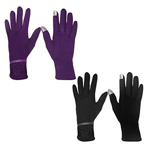 Womens Touch Screen Fleece Lined Assorted Winter Gloves Warm Wear (Lace Black Purple)