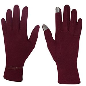 Red Womens Touch Screen Fleece Lined Belted Winter Gloves Warm Wear Belted