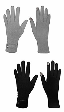 Black Grey Womens Touch Screen Fleece Lined Button Winter Gloves Warm Wear Button 2 Pack