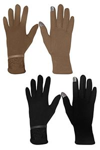 Womens Touch Screen Lace Winter Gloves Warm Wear Lace 2 Pack
