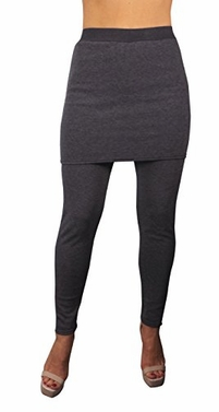Dark Gray Womens Trendy Fleece Lined Skirt Leggings (L/XL)