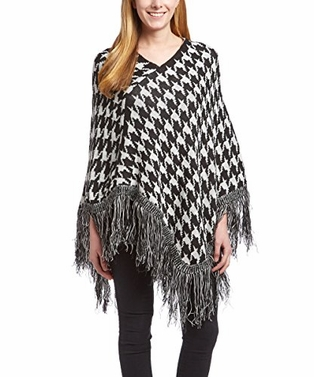 Houndstooth Womens Trendy Warm Striped Poncho Blanket Wrap Shawl