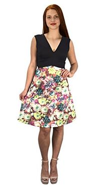 Black Pink Womens V Neck Empire Waist Floral A line Dress