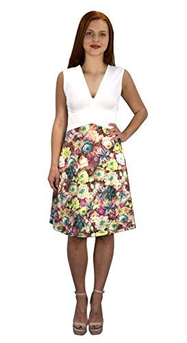 White Pink Womens V Neck Empire Waist Floral A line Dress