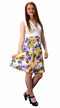 Peach Couture Womens V Neck Empire Waist Floral A line Dress White Purple