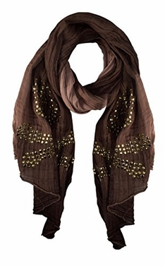 Brown Womens Vintage Cotton Crinkled Skull Studded Scarf Shawl Wrap