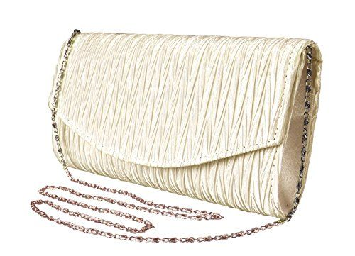 Cream Womens Vintage Satin Pleated Envelope Evening Cocktail Wedding Party Handbag Clutch
