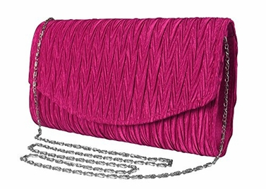Fuchsia Womens Vintage Satin Pleated Envelope Evening Cocktail Wedding Party Handbag Clutch