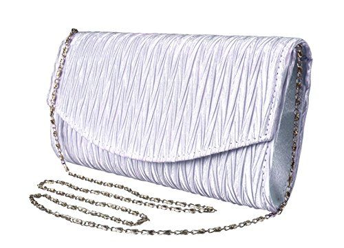 Lilac Womens Vintage Satin Pleated Envelope Evening Cocktail Wedding Party Handbag Clutch