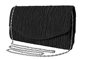 Peach Couture Womens Vintage Satin Pleated Envelope Evening Cocktail Wedding Party Handbag Clutch (Onyx)