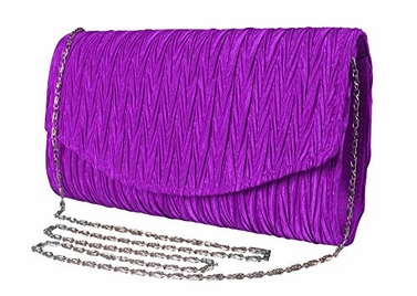 Purple Vintage Satin Pleated Envelope Evening Cocktail Wedding Party Handbag Clutch