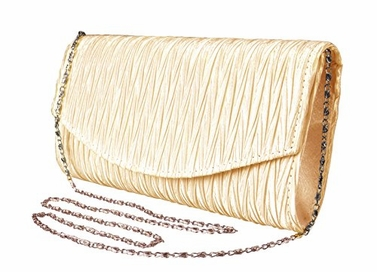 Tan Women's Vintage Satin Pleated Envelope Evening Cocktail Wedding Party Handbag Clutch