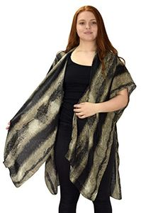 Peach Couture Womens Vintage Tie Dye Print Lightweight Cardigan Summer Poncho Brown Hunter Green
