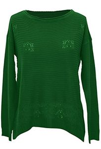 Green Womens Winter Hand Crocheted Long Sleeve Knitted Sweater