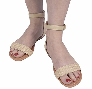 Beige Womens Woven Strap Summer Wedge Heel Sandal with Adjustable Ankle Strap (8)