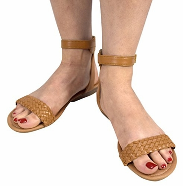 Camel Womens Woven Strap Summer Wedge Heel Sandal with Adjustable Ankle Strap (9)