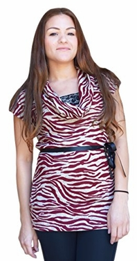 Burgundy Zebra Print Cowl Neck Lace Detailed Elegant Belt Tunic Top (Large)