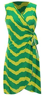 Green Zigzag Chevron Print Lightweight Self Tie Side Wrap Dress