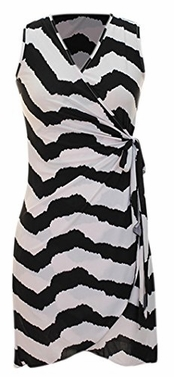 Black Zigzag Chevron Print Lightweight Self Tie Side Wrap Dress (Medium)