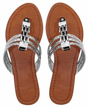 Black Women`s Chain Link Open Toe Beach Thong Sandal