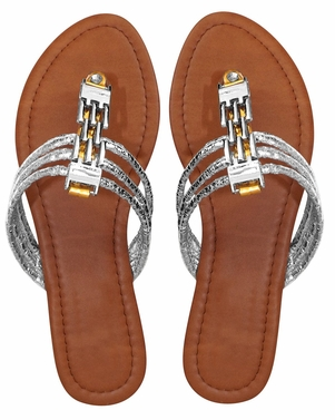 Gold Women`s Chain Link Open Toe Beach Thong Sandal