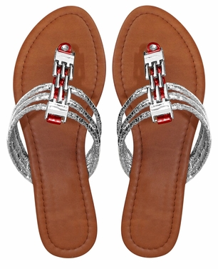 Red Women`s Chain Link Open Toe Beach Thong Sandal
