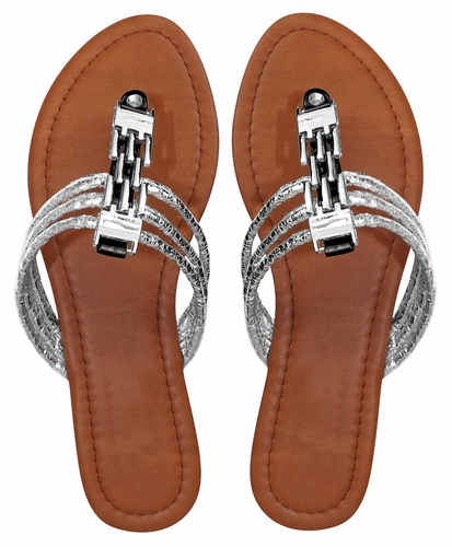 Peyton Women`s Chain Link Open Toe Beach Thong Sandal