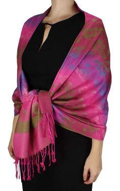 Hot Pink Silky Hawaiian Pansy Shawl Scarf