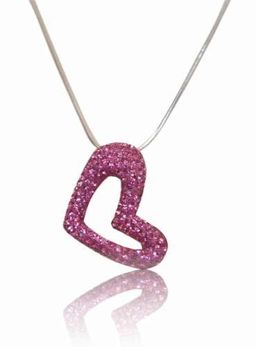 Pink Heart Pendant-Free Scarf