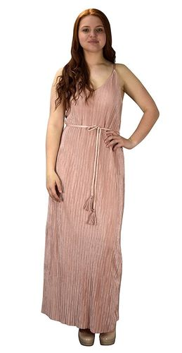 Pink Pleated Fabric Waist Tie Perfect Shiny Cocktail Evening Maxi Dress