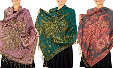 3 Pack Floral Peacock Reversible Pashmina Wrap Shawl Scarf (Pink/Teal/Grey)